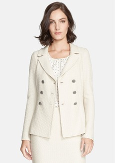 St. John Collection Vertical Mini Loop Knit Double Breasted Jacket