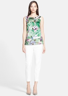 St. John Collection Watercolor Floral Print Stretch Silk Charmeuse & Georgette Shell