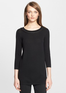 St. John Collection Welt Trim Jersey Knit Tunic