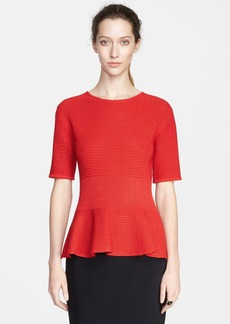 St. John Collection Welted Knit Peplum Sweater