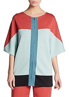 St. John Colorblock Zip-Front Knit Dolman Jacket