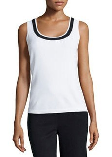 St. John Contrast-Trimmed Knit Shell, Bright White/Black