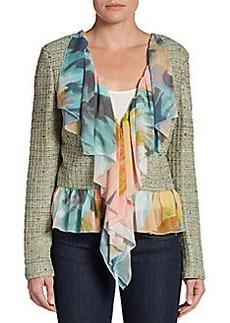 St. John Couture Chiffon-Ruffle Tweed Jacket