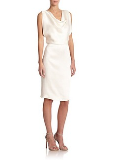 St. John Cowlneck Liquid Crepe Dress