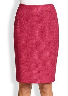 St. John Double Basketweave Shimmer-Knit Skirt