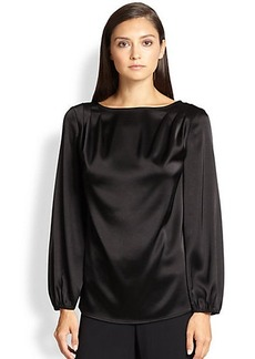 St. John Draped Liquid Satin Top