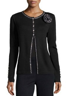 St. John Embellished Cardigan with Round Neckline, Black