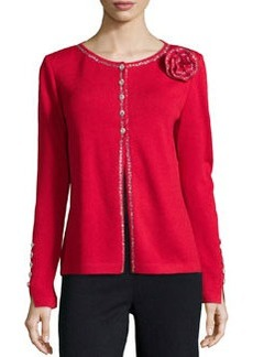 St. John Embellished Cardigan with Round Neckline, Crimson