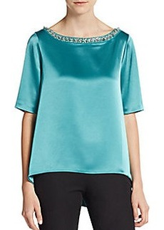 St. John Embellished Satin Hi-Lo Top
