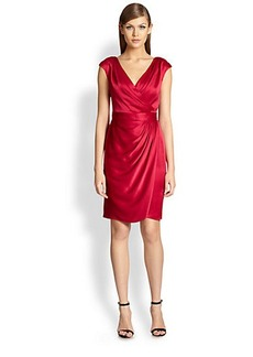 St. John Faux-Wrap Satin Dress