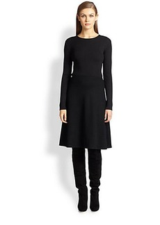 St. John Flared Knit Long-Sleeve Dress