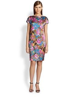 St. John Floral Silk Charmeuse Dress