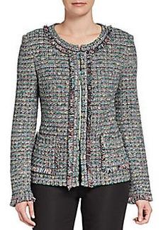 St. John Fringe-Trimmed Donegal Plaid Tweed Jacket