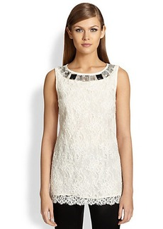 St. John Jeweled Lace Tunic