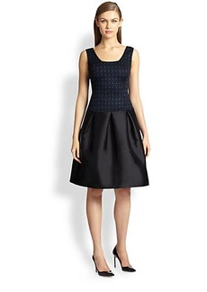 St. John Knit Jacquard & Faille Dress