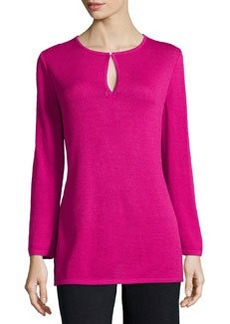 St. John Knit Long-Sleeve Tunic, Cosmo