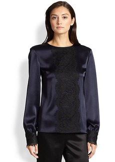 St. John Lace-Panel Satin Blouse