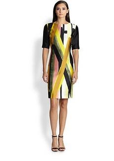 St. John Layer Print Silk & Wool Dress