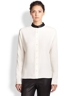 St. John Leather-Collar Blouse