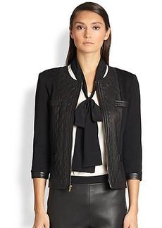St. John Leather-Trimmed Jacket