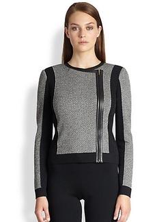 St. John Leather-Trimmed Knit Bomber Jacket