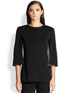 St. John Leather-Trimmed Wool Top