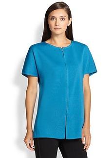 St. John Milano Short-Sleeve Zip Cardigan