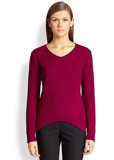 St. John Multi-Textured Knit V-Neck Sweater