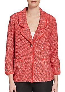 St. John One-Button Lattice-Knit Jacket