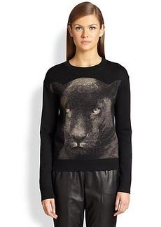 St. John Panther-Print Jacquard Sweater