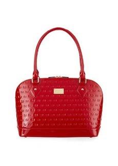 St. John Patent Logo-Embossed Tote Bag, Crimson