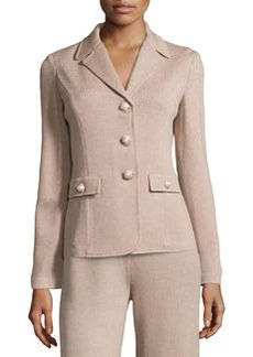 St. John Pearly-Button Knit Jacket, Bisque