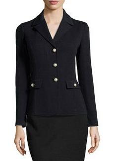 St. John Pearly-Button Knit Jacket, Onyx