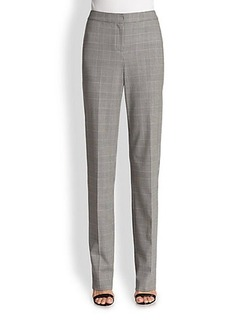 St. John Plaid Wool Straight-Leg Pants