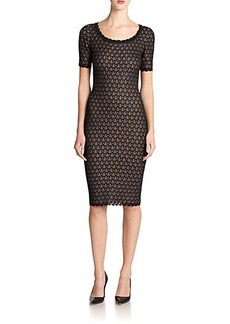 St. John Pointelle & Lace-Trim Dress