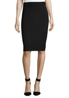 St. John Pull-On Knit Pencil Skirt, Onyx