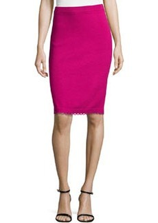 St. John Pull-On Knit Pencil Skirt With Loop-Trim, Cosmo Pink