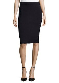 St. John Pull-On Knit Pencil Skirt With Loop-Trim, Onyx