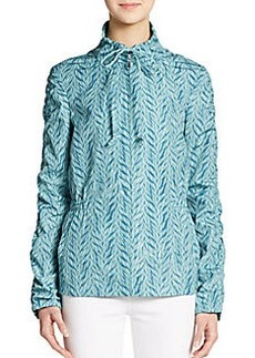 St. John Ruched Sleeve Printed Jacket
