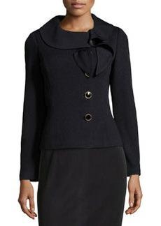 St. John Ruffle-Collar Knit Jacket, Onyx