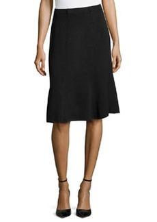 St. John Santana Fit & Flare Skirt, Onyx