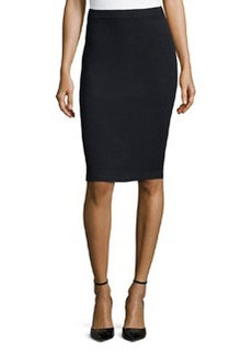 St. John Santana Knit Basic Pencil Skirt, Onyx
