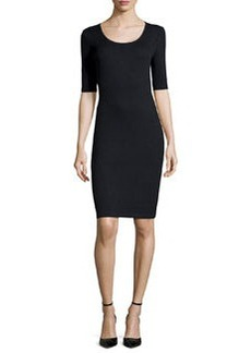 St. John Santana Knit Half-Sleeve Sheath Dress, Oynx
