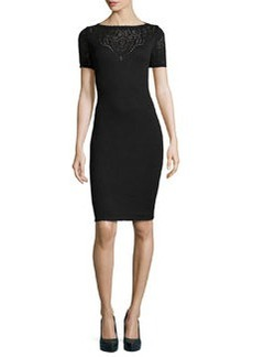 St. John Santana Knit Short-Sleeve Pointelle Dress, Onyx