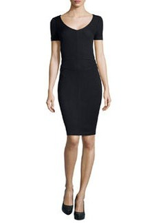 St. John Santana Knit Short-Sleeve Sheath Dress, Onyx
