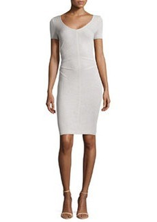 St. John Santana Knit Short-Sleeve Sheath Dress, Platinum