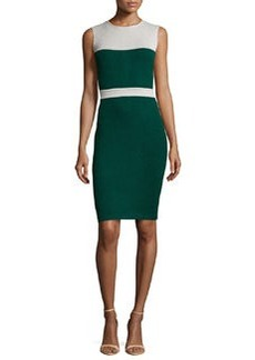 St. John Santana Knit Sleeveless Colorblock Dress, Emerald/Platinum