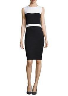 St. John Santana Knit Sleeveless Colorblock Dress, Onyx/White