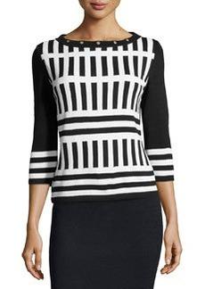 St. John Santana Knit Striped Sweater, Onyx