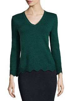 St. John Santana Knit V-Neck Pullover, Emerald